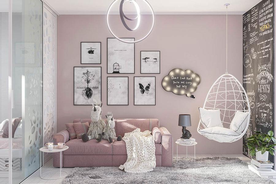 Idee per arredare una cameretta rosa in maniera originale n.01