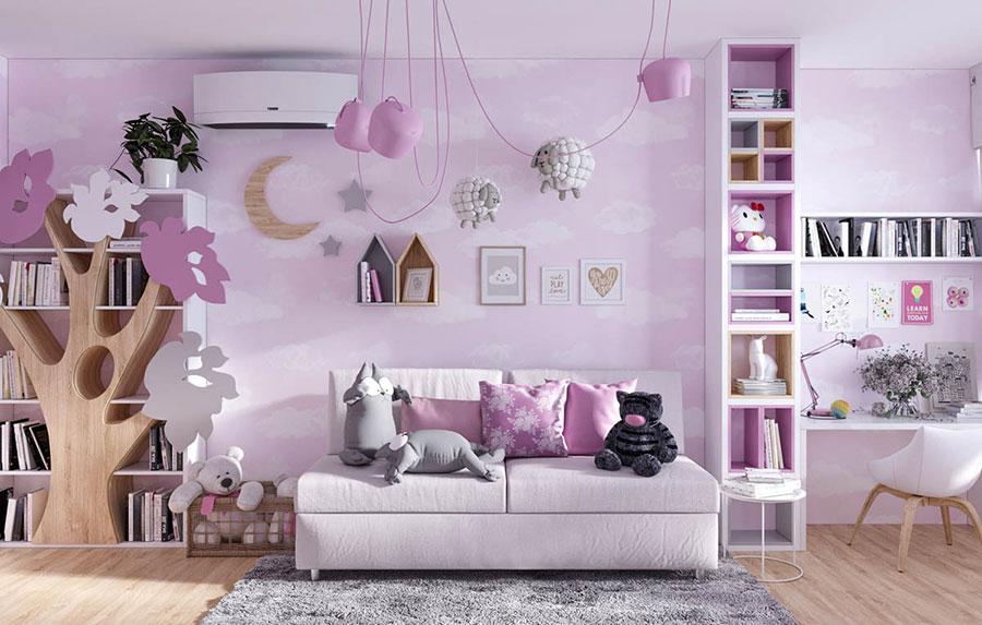 Idee per camerette con pareti rosa n.1