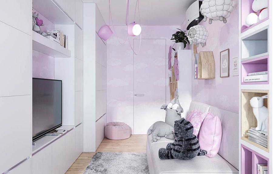 Idee per arredare una cameretta rosa in maniera originale n.06