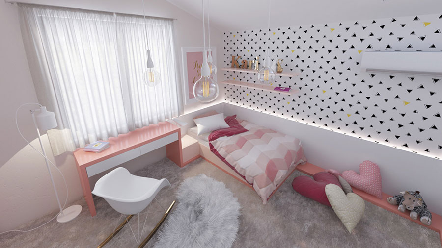 Idee per arredare una cameretta rosa in maniera originale n.14