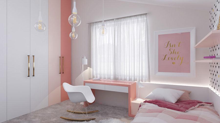 Idee per arredare una cameretta rosa in maniera originale n.15