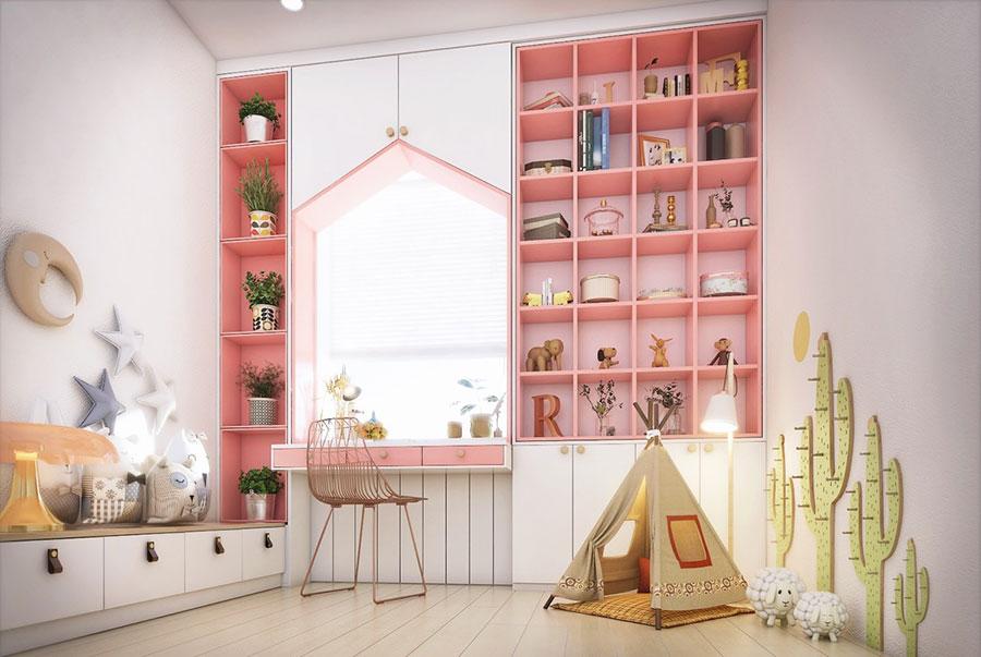 Idee per arredare una cameretta rosa in maniera originale n.23