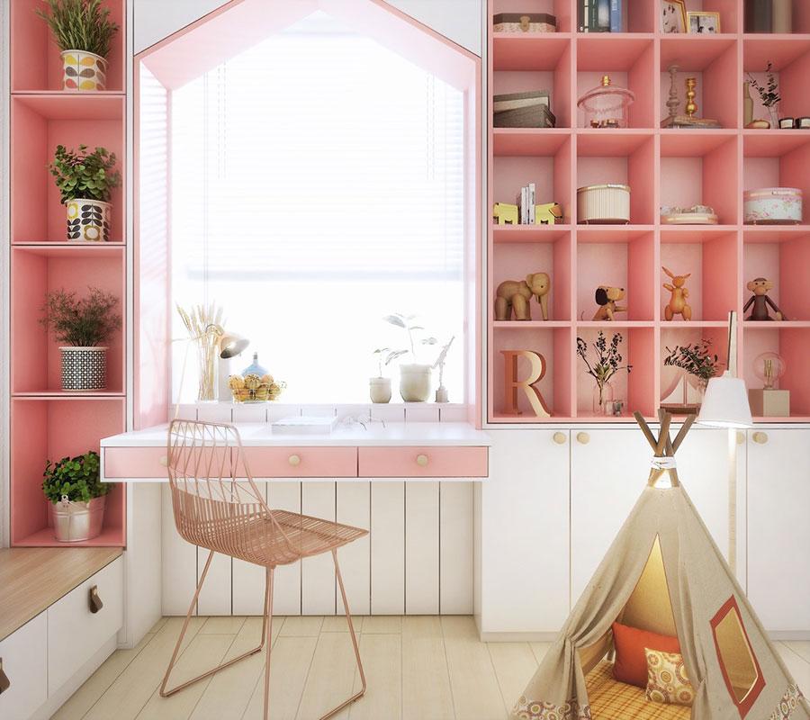 Idee per arredare una cameretta rosa in maniera originale n.24