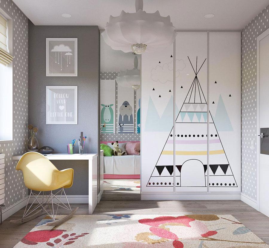Idee per camerette con pareti grigie n.3