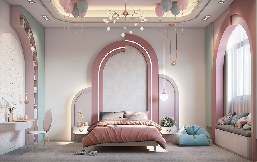 Idee per arredare una cameretta rosa e bianca n.01