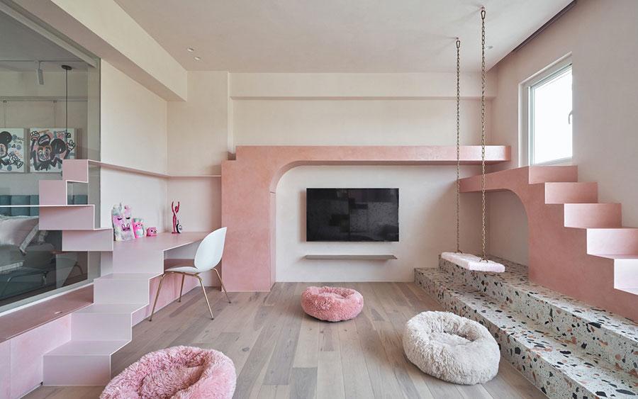 Idee per arredare una cameretta rosa e bianca n.02