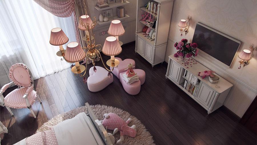 Idee per arredare una cameretta rosa e grigia n.02
