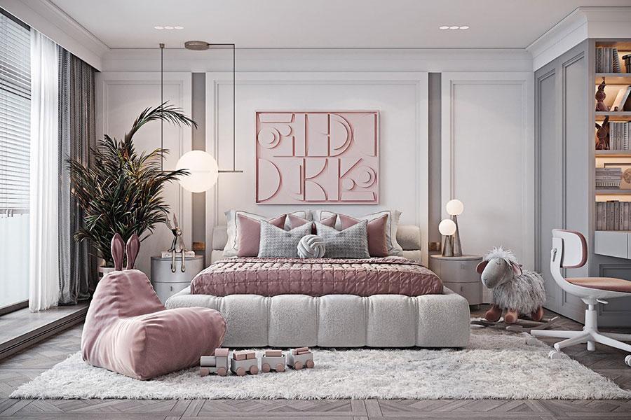 Idee per arredare una cameretta rosa e grigia n.07