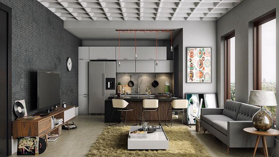 Idee per arredare una cucina open space con isola n.25