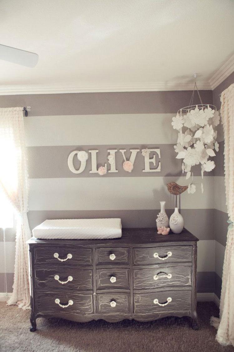 idee per dipingere le pareti in stile shabby chic a righe 02