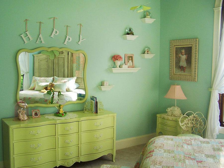 idee per dipingere le pareti in stile shabby chic con il verde 01