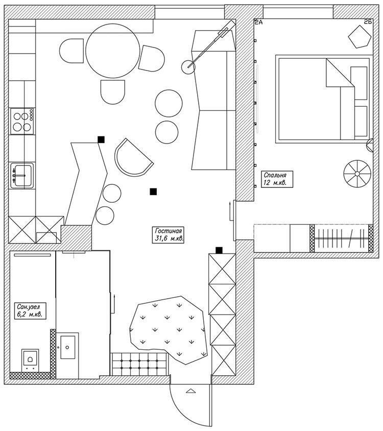 Arredamento per casa piccola in stile moderno n.01