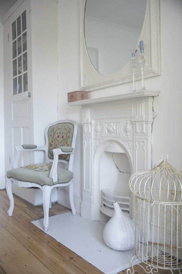 Camini shabby chic ecco 40 idee originali e decorative for Finto camino shabby