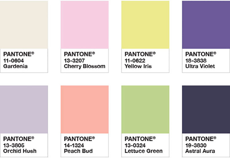 Abbinamenti di tendenza per pareti Pantone 2018 Floral Fantasies