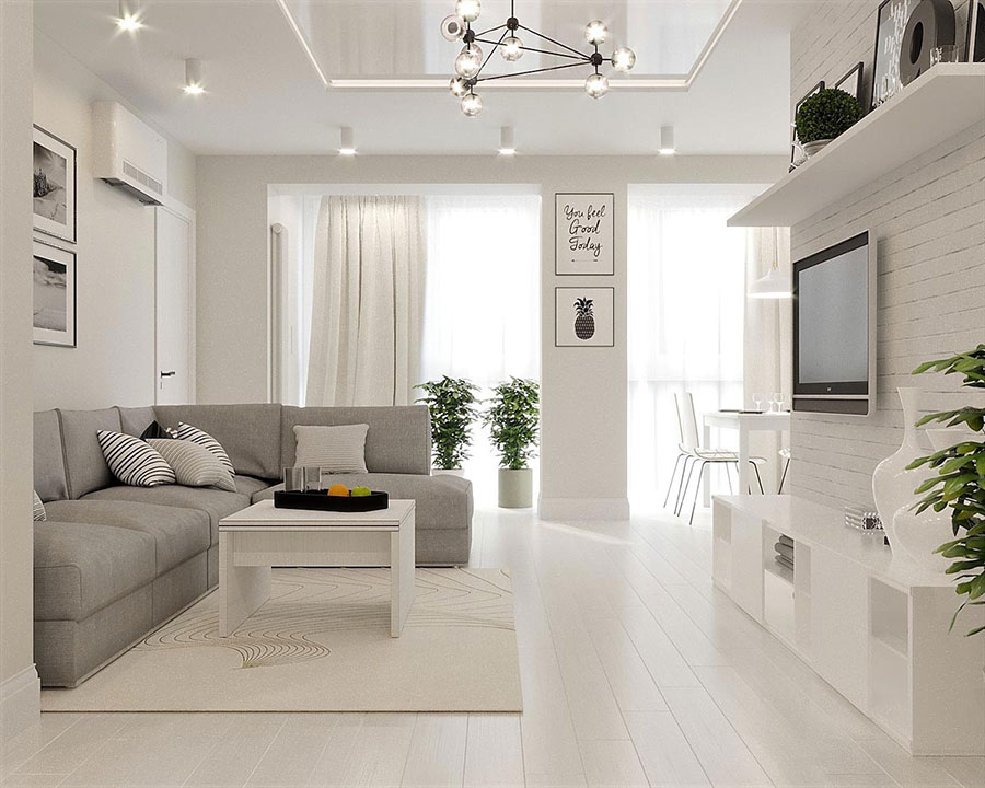 Arredamento bianco e grigio tante idee per una casa di for Arredamento originale casa