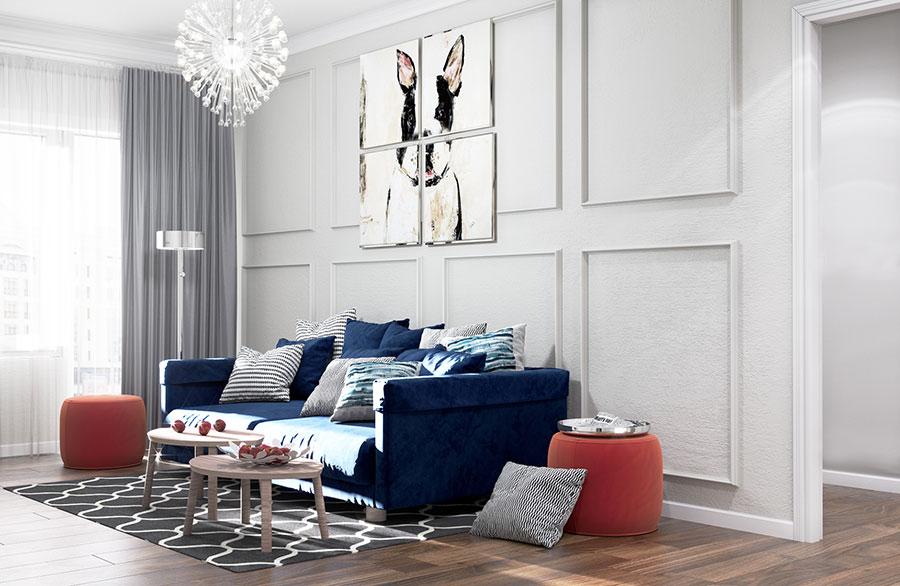 Soggiorno con divano blu 05