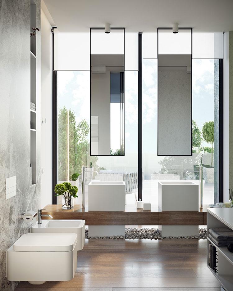 Modello di bagno con doppio lavabo di design n.01