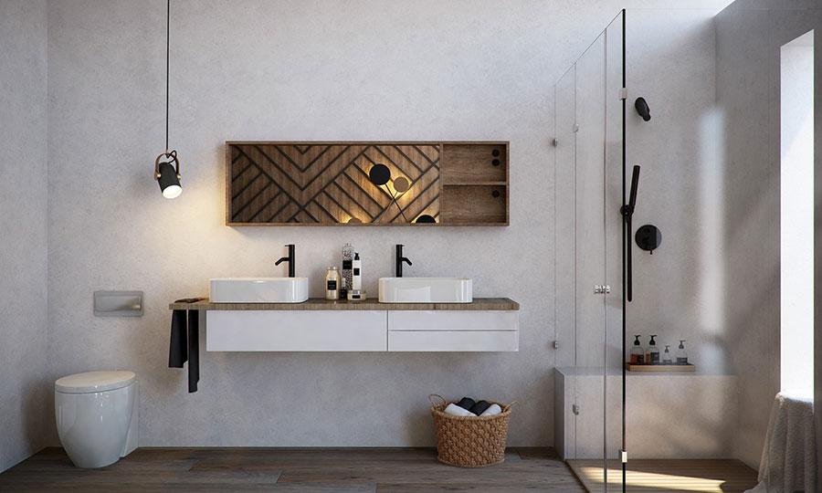 Modello di bagno con doppio lavabo di design n.02