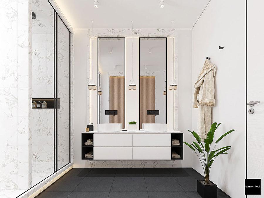 Modello di bagno con doppio lavabo di design n.04