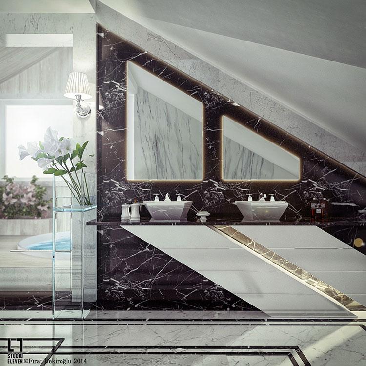Modello di bagno con doppio lavabo di design n.09