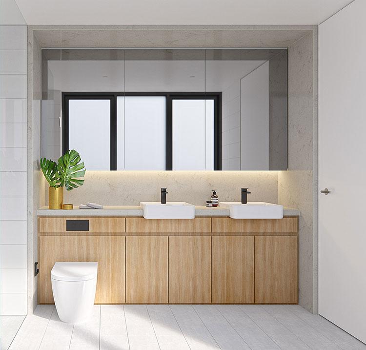 Modello di bagno con doppio lavabo di design n.10