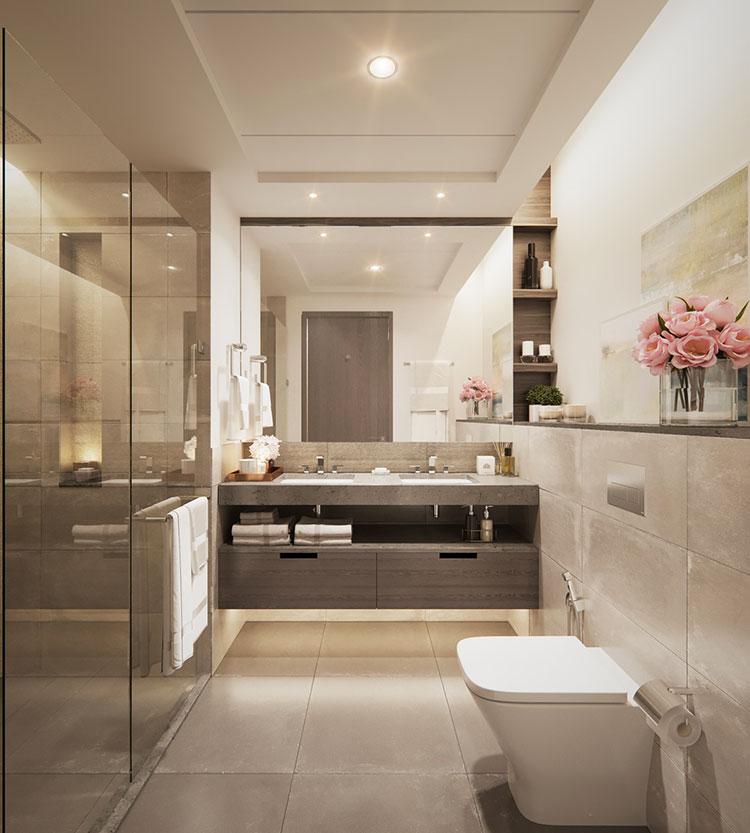Modello di bagno con doppio lavabo di design n.11