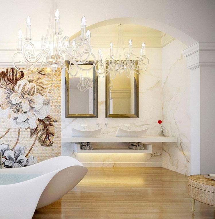 Modello di bagno con doppio lavabo di design n.12