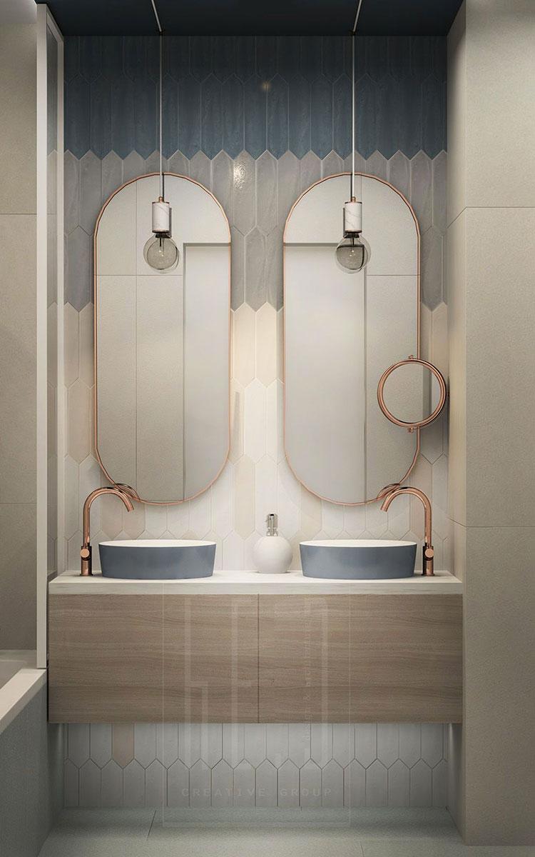 Modello di bagno con doppio lavabo di design n.13