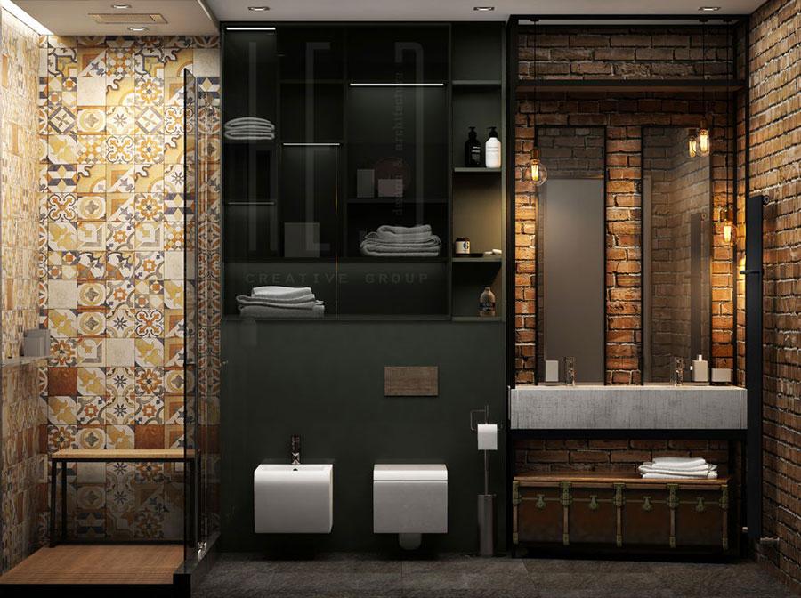 Modello di bagno con doppio lavabo di design n.14