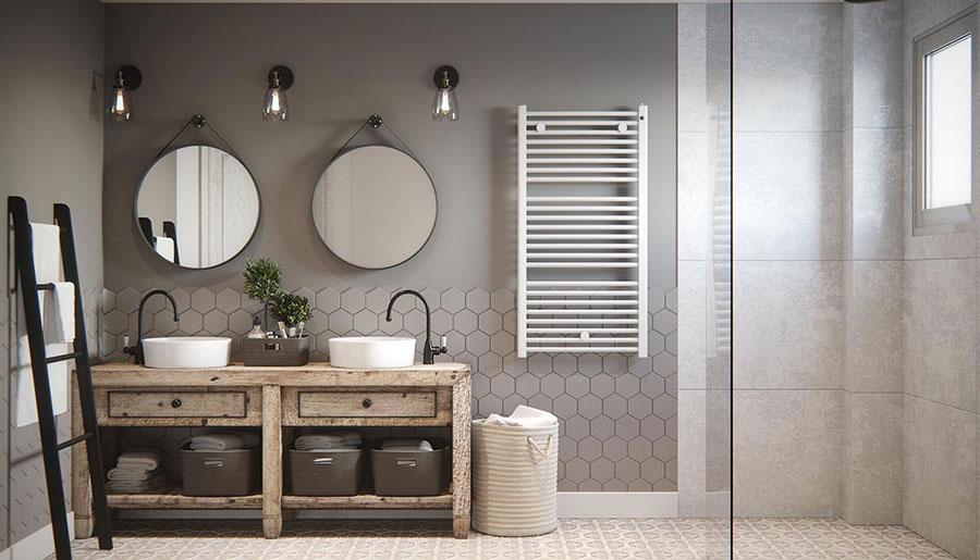 Modello di bagno con doppio lavabo di design n.15