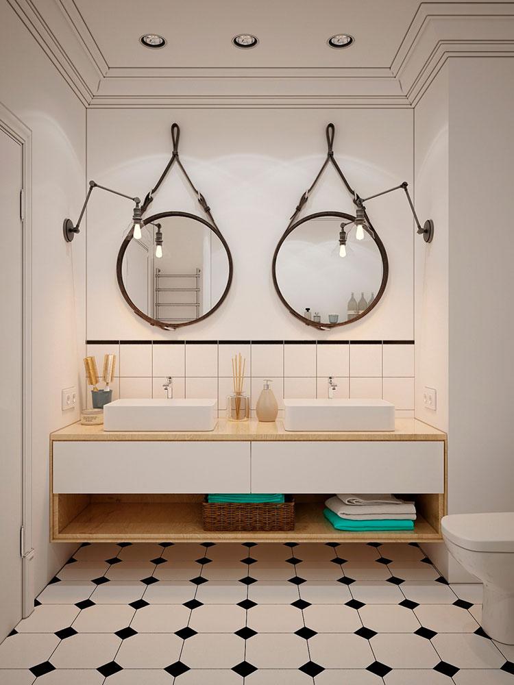 Modello di bagno con doppio lavabo di design n.16