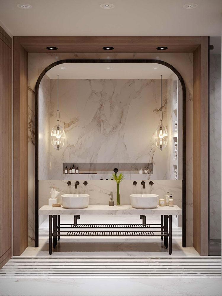Modello di bagno con doppio lavabo di design n.18