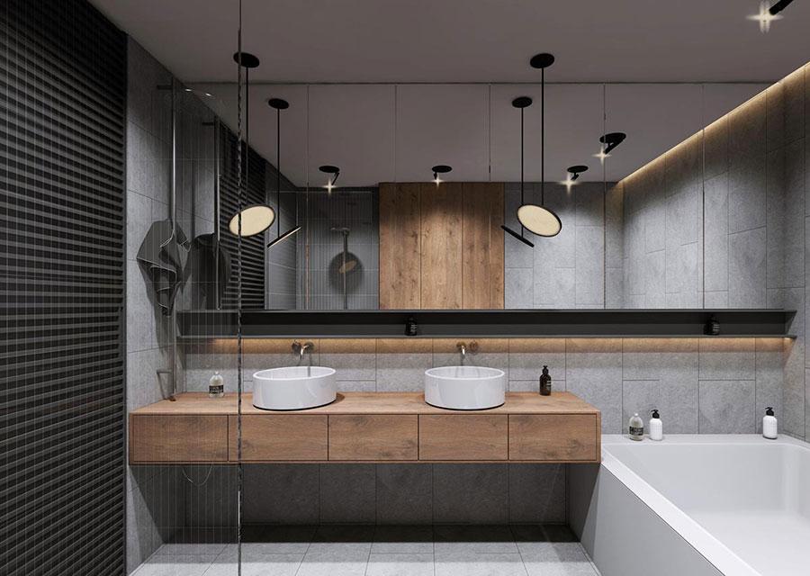 Modello di bagno con doppio lavabo di design n.19