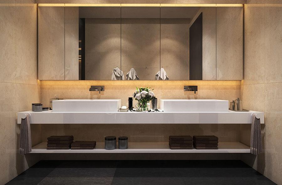 Modello di bagno con doppio lavabo di design n.20