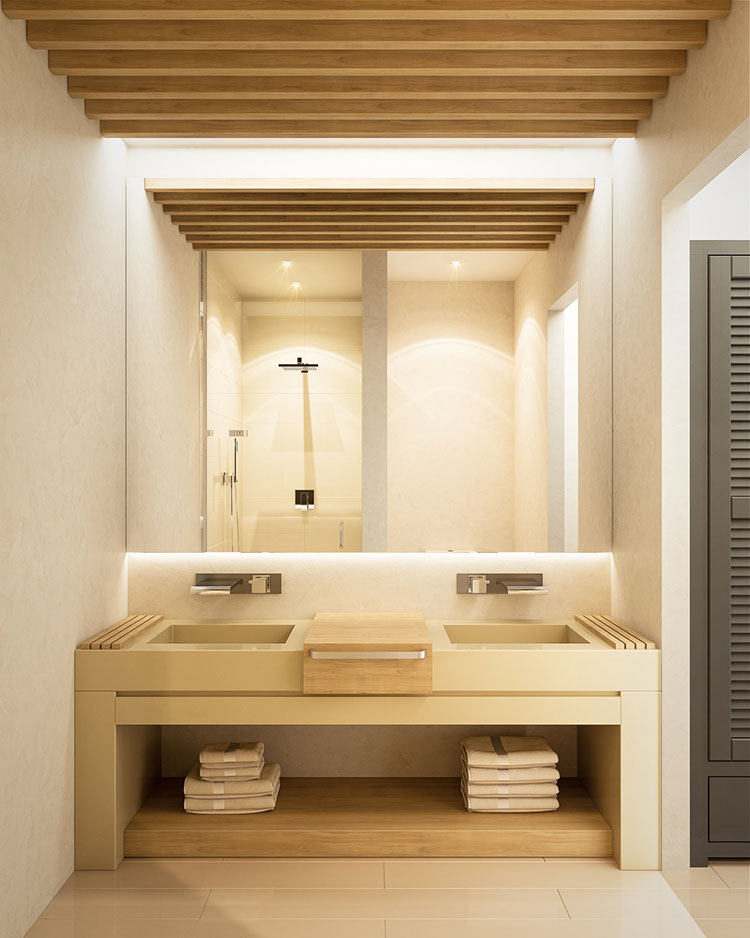 35 foto di bagni con doppio lavabo dal design elegante e for Bagno in muratura doppio lavabo