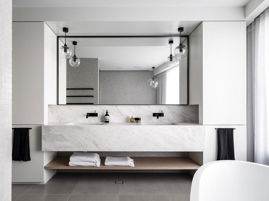 Modello di bagno con doppio lavabo di design n.23