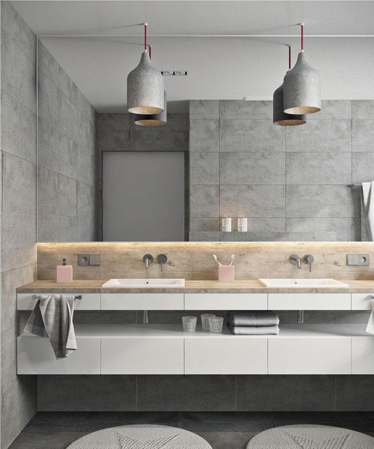 Modello di bagno con doppio lavabo di design n.24