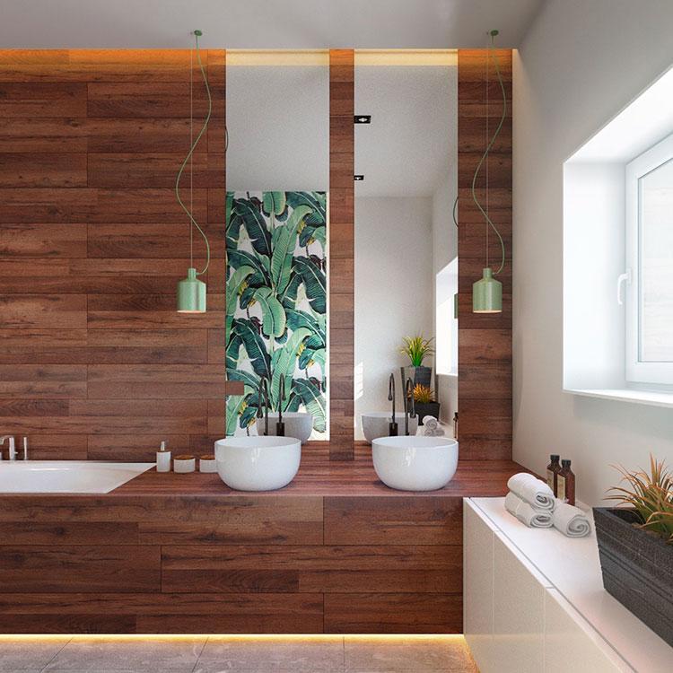 Modello di bagno con doppio lavabo di design n.26