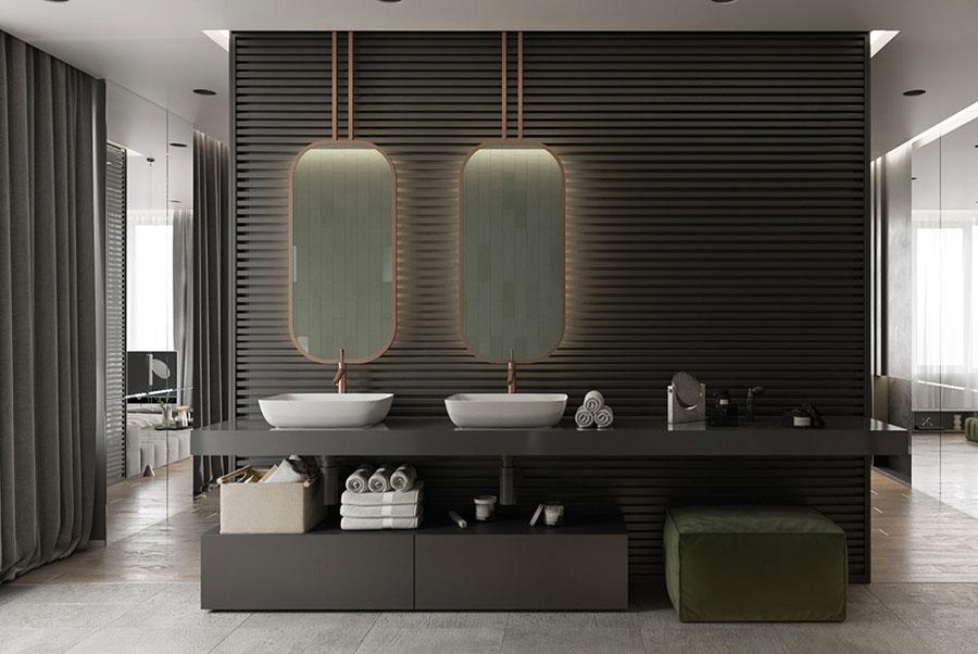 Modello di bagno con doppio lavabo di design n.28