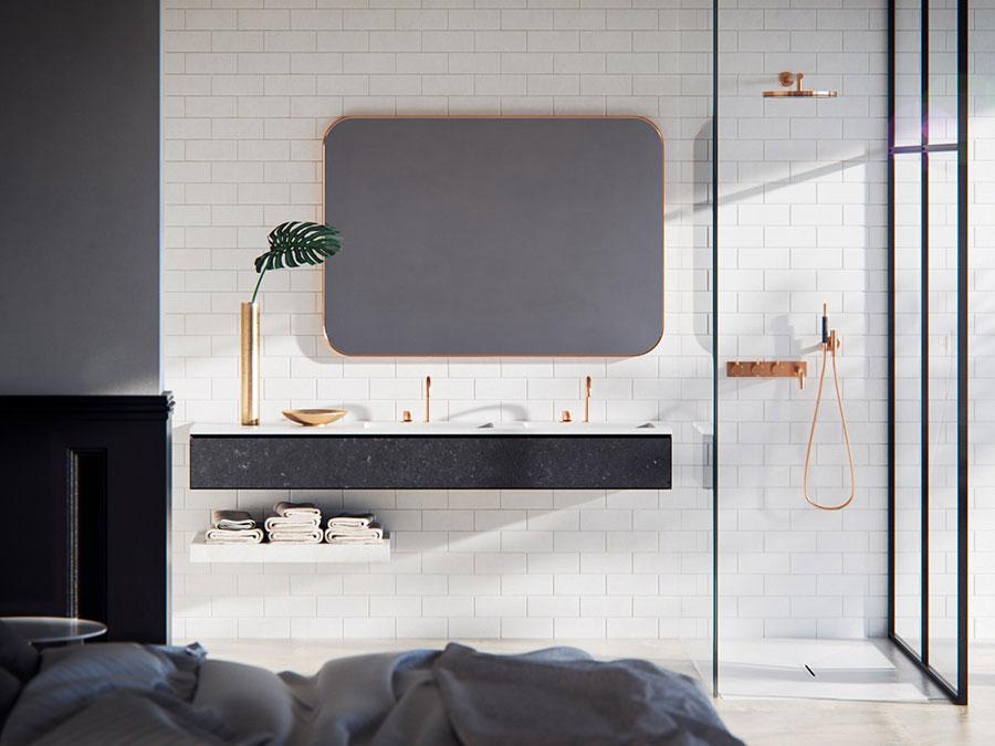 Modello di bagno con doppio lavabo di design n.29