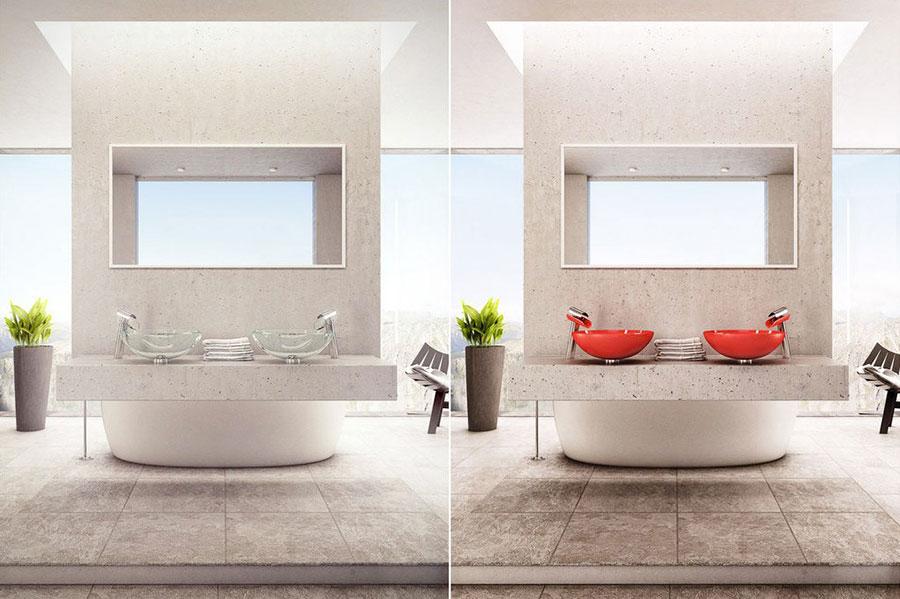 Modello di bagno con doppio lavabo di design n.30