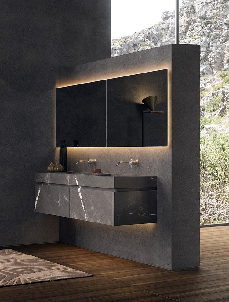 Modello di bagno con doppio lavabo di design n.31