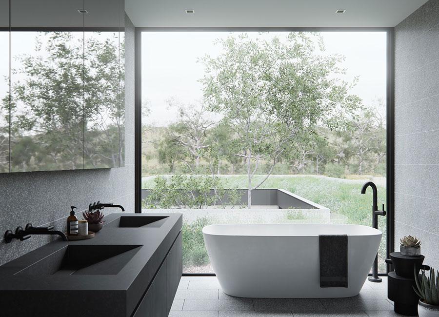 Modello di bagno con doppio lavabo di design n.33