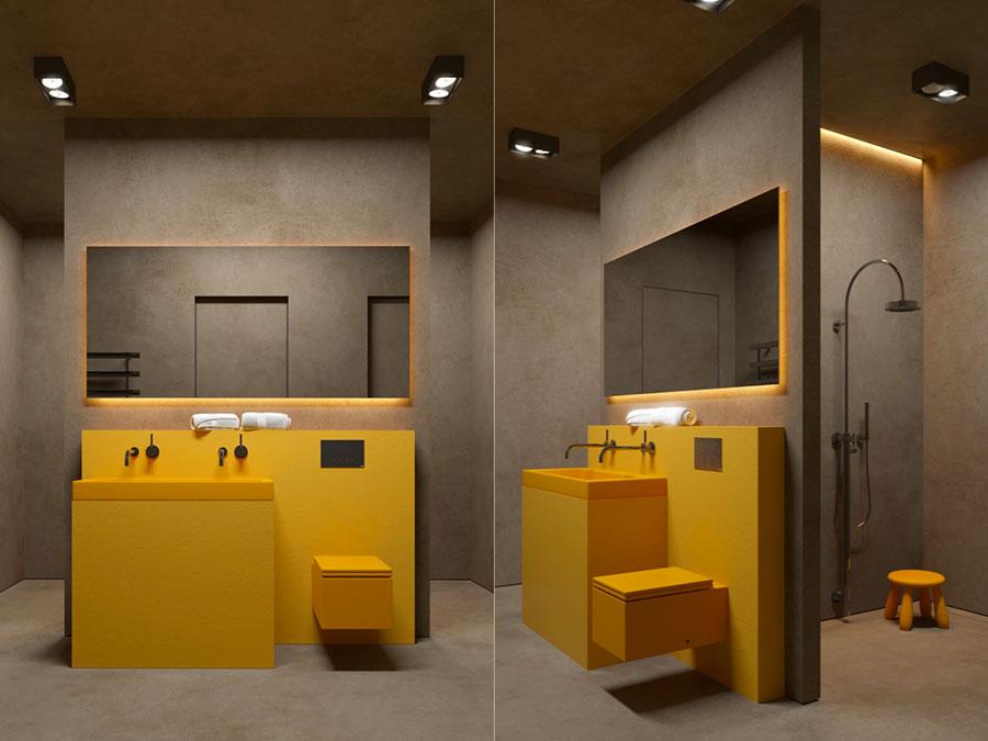 Modello di bagno con doppio lavabo di design n.35
