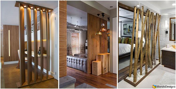 25 idee per pareti divisorie in legno dal design for Elementi divisori per interni
