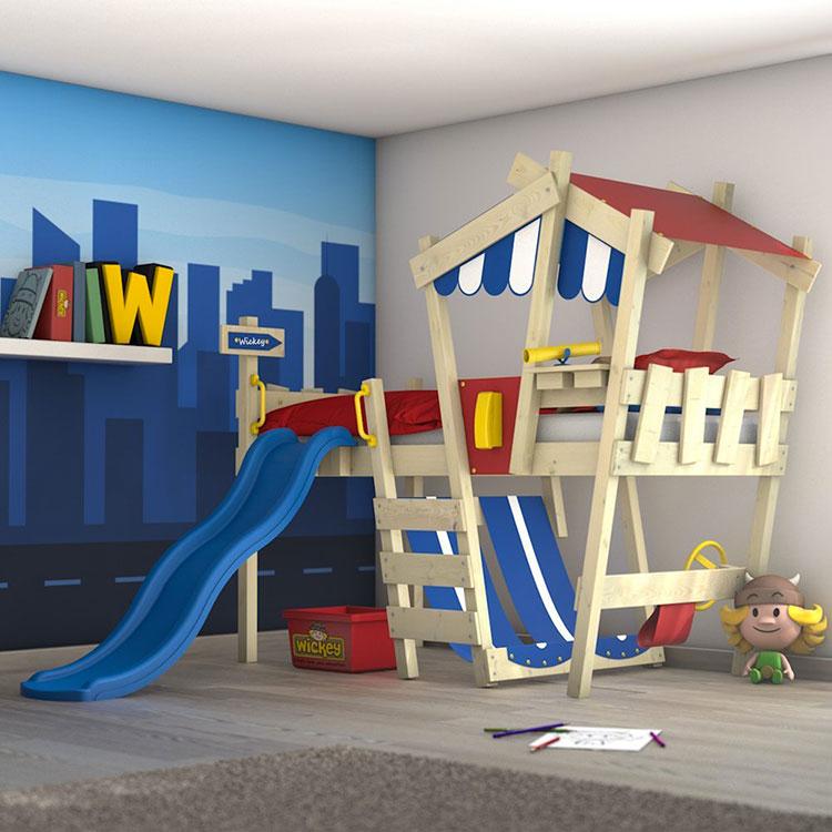 Modello di letto a soppalco con scivolo per bambini n.01