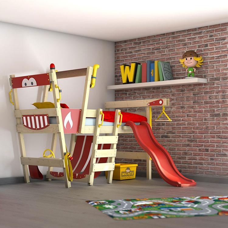 Modello di letto a soppalco con scivolo per bambini n.03
