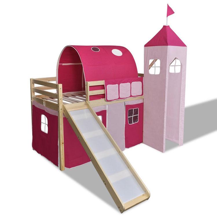 Modello di letto a soppalco con scivolo per bambini n.05