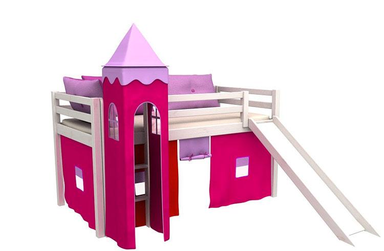 Modello di letto a soppalco con scivolo per bambini n.06