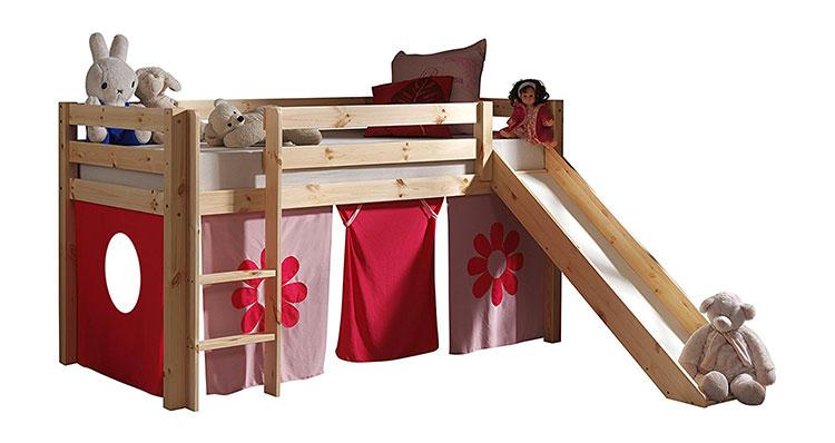 Modello di letto a soppalco con scivolo per bambini n.09